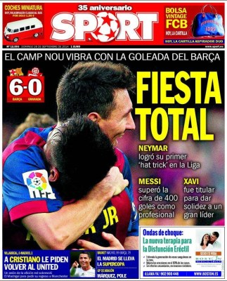 Portada SPORT: el Barça golea al Granada