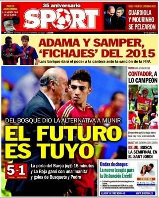 Portada Sport: España golea a Macedonia debuta munir