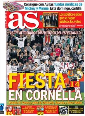 Portada AS: Cornellá 1-Real Madrid 4. Copa del Rey