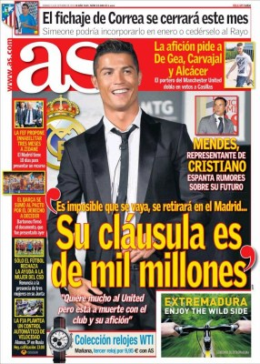 Portada AS: Cristiano Ronaldo clausula de 1000 millones