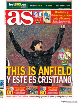 Portada AS: Liverpool vs. Real Madrid