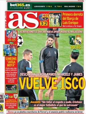 Portada AS: Ludogorets vs. Madrid, Atlético vs. Juventus champions