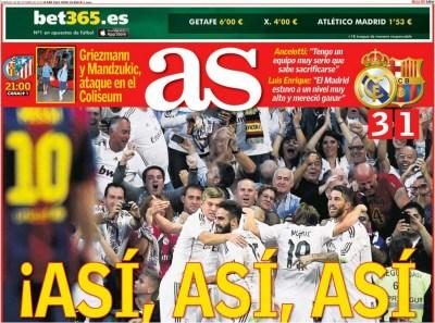 Portada AS: Real Madrid 3-Barcelona 1. El clásico del 25/10/14