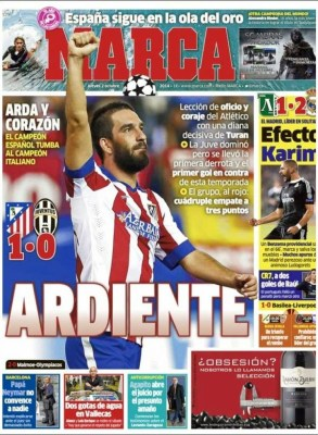 Portada Marca: el Atlético vence a la Juventus