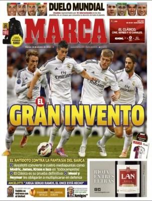 Portada Marca: se viene el clásico Madrid-Barça james rodriguez