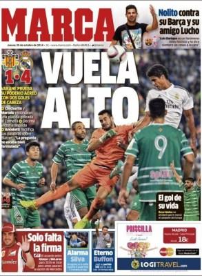 Portada Marca: Cornellá 1-Real Madrid 4. Copa del Rey