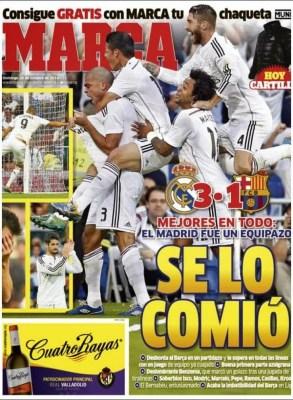 Portada Marca: Real Madrid 3-Barcelona 1. El clásico del 25/10/14