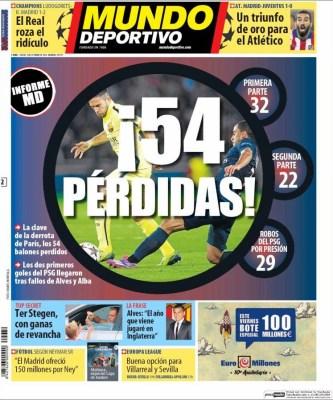 Portada Mundo Deportivo: informe Barça-PSG