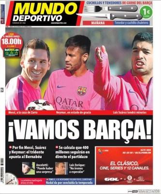 Portada Mundo Deportivo: el clásico Real Madrid vs. FC Barcelona octubre 2014