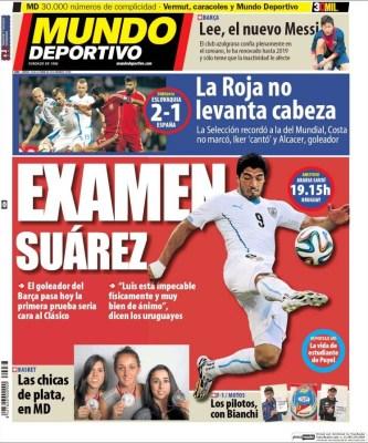 Portada Mundo Deportivo: Examen a Luis Suarez
