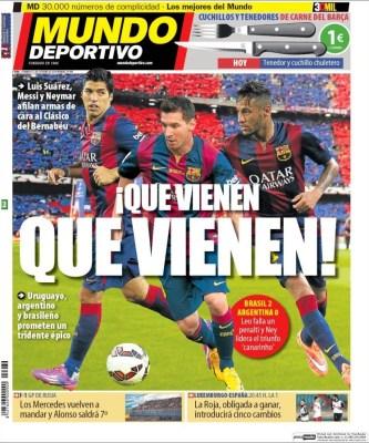 Portada Mundo Deportivo: Messi, Neymar y Suárez