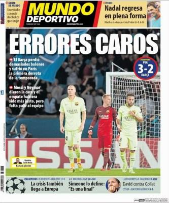 Portada Mundo Deportivo: El PSG vence 3-2 al Barça