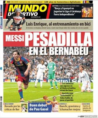Portada Mundo Deportivo: Messi, la pesadilla del Bernabéu superclasico