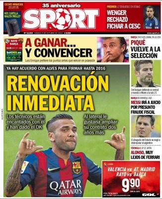Portada Sport: Dani Alves messi a juicio por fraude