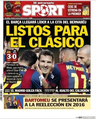 Portada Sport: El Barça a punto para el clásico