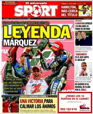Portada Sport: Luxemburgo - España marquez leyenda motogp