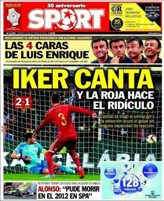 Portada Sport: Iker canta españa eslovaquia