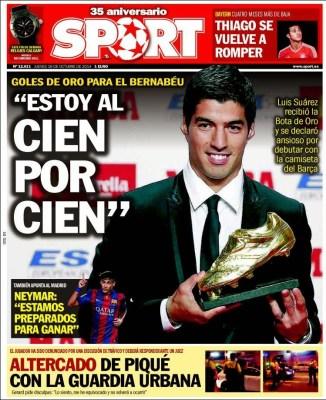 Portada Sport: Luis Suárez Bota de Oro