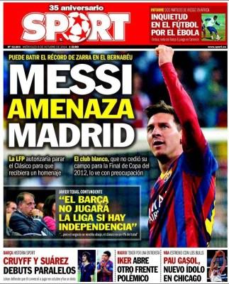 Portada Sport: superclásico Madrid-Barça 2014 messi