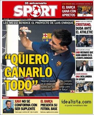 Portada SPORT: Messi quiere ganarlo todo