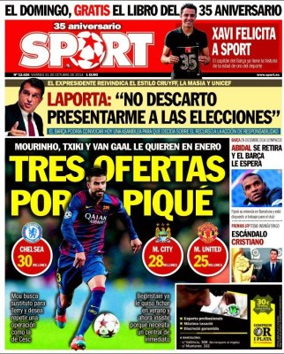 Portada Sport: tres ofertas por Gerard Piqué