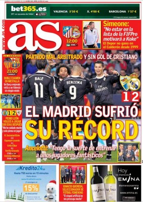 Portada AS: Real Madrid récord 16 victorias seguidas
