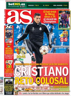 Portada AS: Crsitiano Ronaldo reto colosal basilea real madrid