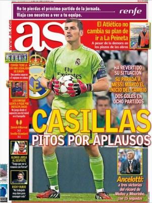 Portada AS: Iker Casillas cambia pitos por aplausos