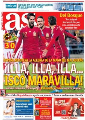 Portada AS: España 3-Bielorrusia 0   la magia de isco