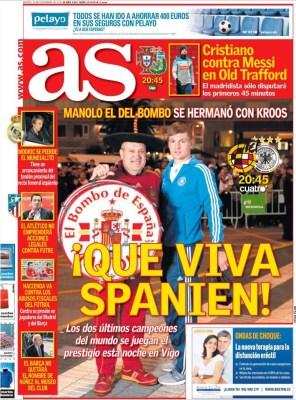 Portada AS: hoy amistoso España-Alemania dos campeones del mundo