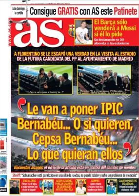 Portada AS: IPIC o Cepsa Bernabéu