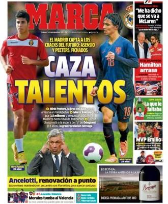 Portada Marca: el Real Madrid ficha a Asensio y Peeters