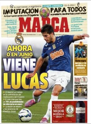 Portada Marca: Lucas al Madrid cruzeiro fichaje