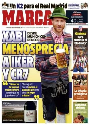 Portada Marca: Xabi Alonso menosprecia a Iker y Ronaldo