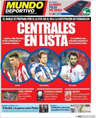 Portada Mundo Deportivo: el Barcça busca fichar un central