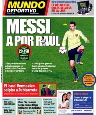 Portada Mundo Deportivo: Messi a por el récord de Raúl
