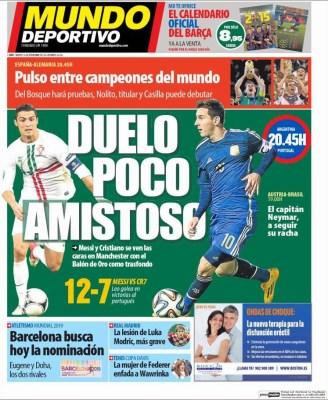 Portada Mundo Deportivo: Hoy amistoso Argentina vs. Portugal messi ronaldo