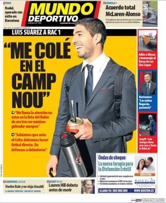 Portada Mundo Deportivo: Luis Suárez