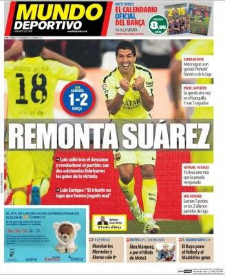 Portada Mundo Deportivo: Luis Suárez salva al Barcelona
