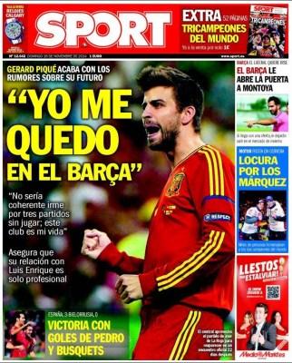 Portada Sport: Gerard Piqué se queda en el Barça