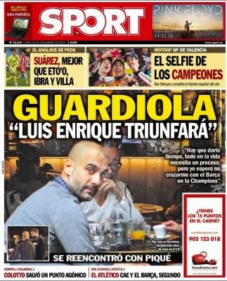 Portada Sport: Pep Guardiola