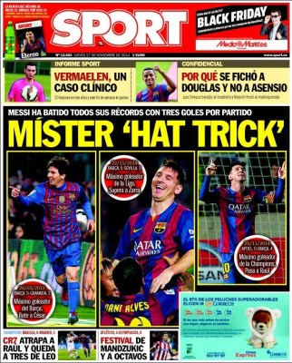 Portada SPORT: Messi es Mr. hat trick