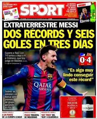 Portada Sport: Messi supera el récord de Raúl en Champions