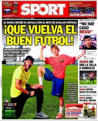 Portada Sport: Neymar , barcelona sevilla