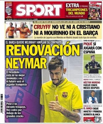 Portada Sport: la renovación de Neymar