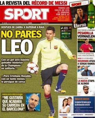 Portada Sport: Leo Messi a por Raúl