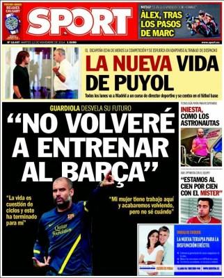 Portada Sport: Pep Guardiola no volverá a entrenar al Barça