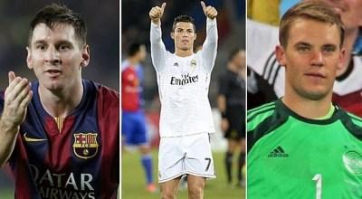 Finalistas Balón de Oro 2014: Lionel Messi, Cristiano Ronaldo y Manuel Neuer