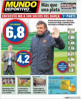 Portada Mundo Deportivo: Luis Enrique 6,8