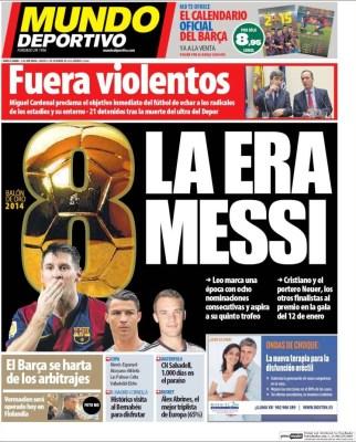 Portada Mundo Deportivo: la Era Messi 8 nominaciones al balon de oro